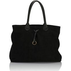 Torebki i plecaki damskie: Skórzana torebka w kolorze czarnym – 41 x 24 x 11 cm