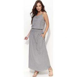 Sukienki: Szara Długa Letnia Sukienka na Cienkich Ramiączkach