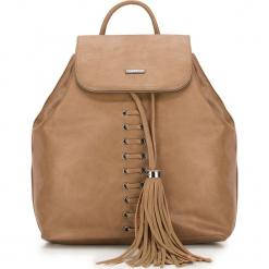 Plecak damski 87-4Y-354-5. Brązowe plecaki damskie marki Wittchen, z aplikacjami, boho. Za 199,00 zł.
