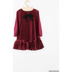 Sukienka z aksamitu z kokarda. Szare sukienki dziewczęce dzianinowe Pakamera, z długim rękawem, długie. Za 129,00 zł.