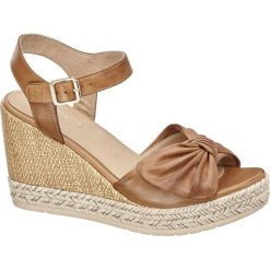 Sandały damskie: sandały na koturnie 5th Avenue koniakowe
