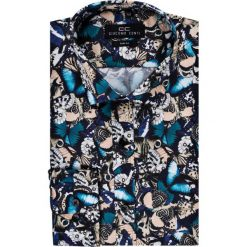 Koszula SIMONE KDWS000148. Czarne koszule męskie na spinki marki Premium by Jack&Jones, l, z bawełny, z włoskim kołnierzykiem, z długim rękawem. Za 199,00 zł.