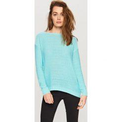 Swetry damskie: Sweter z dekoltem z tyłu - Turkusowy