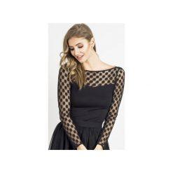 Bluzka Becky. Czarne bluzki asymetryczne Wow fashion, xl, w grochy, z wiskozy, eleganckie, z długim rękawem. Za 139,00 zł.