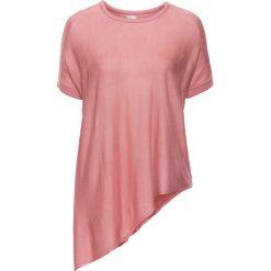 Swetry klasyczne damskie: Sweter z krótkim rękawem i asymetrycznym dołem bonprix dymny różowy