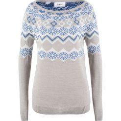 Sweter wzorzysty bonprix jasnoszary melanż wzorzysty. Szare swetry klasyczne damskie marki bonprix. Za 74,99 zł.