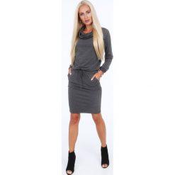 Sukienki: Sukienka z golfem ciemnoszara 4012