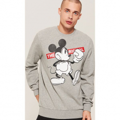Bluza Mickey Mouse - Szary. Czerwone bluzy męskie marki KALENJI, m, z elastanu, z długim rękawem, długie. Za 99,99 zł.