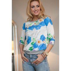 Bluza z nadrukiem niebieska. Białe bluzy z nadrukiem damskie marki Fasardi, l. Za 49,00 zł.