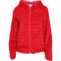 Czerwona Bluza Fragile. Czerwone bluzy rozpinane damskie marki Born2be, l, z tkaniny, z kapturem. Za 89,99 zł.