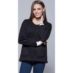 Bluzy rozpinane damskie: Czarna Nierozpinana Bluza Dresowa z Ozdobną Gumką na Rękawach