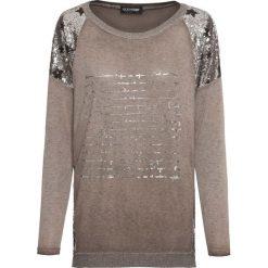 Sweter z cekinami bonprix brązowy. Brązowe swetry klasyczne damskie marki bonprix. Za 129,99 zł.