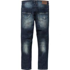 """Dżinsy ze stretchem Slim Fit Straight bonprix ciemnoniebieski """"used"""". Niebieskie jeansy męskie regular bonprix. Za 99,99 zł."""