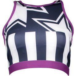 Biustonosze sportowe: Sportowy biustonosz w kolorze fioletowo-biało-granatowym