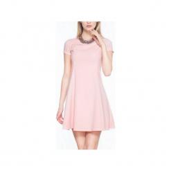 Rozkloszowana sukienka mini SL2165P. Czarne sukienki mini marki Soleil, na imprezę, s, w kolorowe wzory, z bawełny, z długim rękawem, dopasowane. Za 119,00 zł.