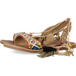 """Sandały damskie: Skórzane sandały """"Haimi"""" w kolorze jasnobrązowym"""