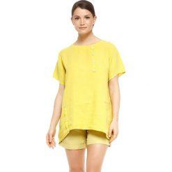 """T-shirty damskie: Lniana koszulka """"Rosa"""" w kolorze żółtym"""