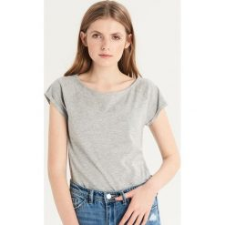 T-shirt basic - Jasny szar. Szare t-shirty damskie marki Sinsay, l. Za 9,99 zł.