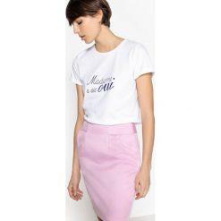 Koszulka z okrągłym dekoltem i krótkim rękawem. Szare bluzki z odkrytymi ramionami marki La Redoute Collections, m, z bawełny, z kapturem. Za 100,76 zł.