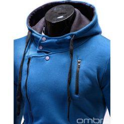 BLUZA MĘSKA ROZPINANA Z KAPTUREM B297 - NIEBIESKA. Niebieskie bluzy asymetryczne męskie marki Ombre Clothing, m, z bawełny, z kapturem. Za 89,00 zł.