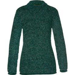 Swetry damskie: Sweter z szenili bonprix ciemnozielono-srebrny kolor