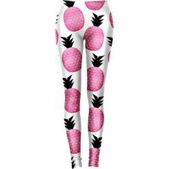 Legginsy we wzory: Legginsy w kolorze biało-różowym
