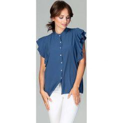 Granatowa Koszulowa Bluzka z Falbankowym Rękawem. Niebieskie bluzki asymetryczne Molly.pl, l, eleganckie, z falbankami. Za 128,90 zł.