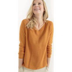Swetry damskie: Sweter z dekoltem w szpic z przodu i z tyłu, bawełna i len