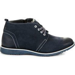 Buty zimowe męskie: Skórzane botki z kożuszkiem
