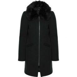 Płaszcze damskie: Płaszcz wełniany z odpinanym kołnierzem ze sztucznego futerka bonprix czarny