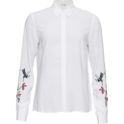 Bluzka z haftem bonprix biały. Białe bluzki longsleeves marki bonprix, z haftami. Za 109,99 zł.