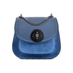 Torebki klasyczne damskie: Skórzana torebka w kolorze niebieskim – (S)19 x (W)16,5 x (G)10 cm
