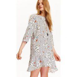 Sukienki hiszpanki: SUKIENKA DAMSKA W GROSZKI I KWIATY, Z FALBANĄ I WIĄZANIEM NA PLECACH