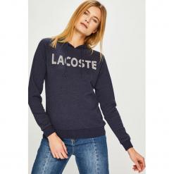 Lacoste - Bluza. Szare bluzy rozpinane damskie Lacoste, l, z nadrukiem, z bawełny, z kapturem. Za 449,90 zł.