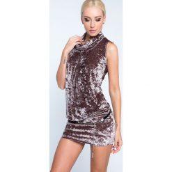 Sukienka z gniecionego weluru cappucino 4881. Szare sukienki Fasardi, m, z weluru. Za 59,00 zł.
