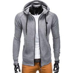 BLUZA MĘSKA ROZPINANA Z KAPTUREM B741 - SZARA. Czarne bluzy męskie rozpinane marki Ombre Clothing, m, z bawełny, z kapturem. Za 69,00 zł.