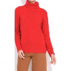 Golf w kolorze czerwonym. Czerwone golfy damskie marki William de Faye, z kaszmiru. W wyprzedaży za 136,95 zł.