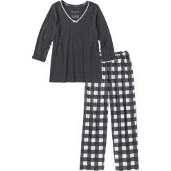 Piżamy damskie: Piżama bonprix antracytowy melanż – biel wełny