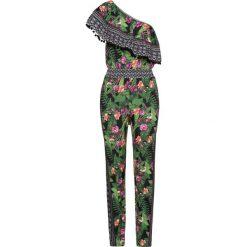 Kombinezony damskie: Kombinezon na jedno ramię bonprix ciemnozielono-lila-jasnoróżowy