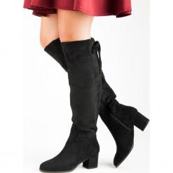 WYGODNE ZAMSZOWE KOZAKI. Czarne buty zimowe damskie Super Mode, z zamszu. Za 128,00 zł.
