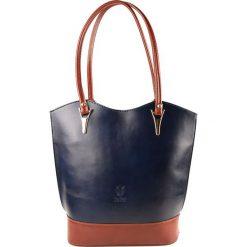 Torebki klasyczne damskie: Skórzana torebka w kolorze granatowym – 28 x 23 x 10 cm