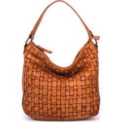Torebki klasyczne damskie: Skórzana torebka w kolorze jasnobrązowym – 26 x 27 x 17 cm