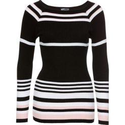 Swetry klasyczne damskie: Sweter bonprix czarno-biało-różowobrązowy w paski