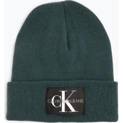 Calvin Klein Jeans - Czapka męska z dodatkiem kaszmiru, zielony. Zielone czapki męskie marki Calvin Klein Jeans, z aplikacjami, z jeansu. Za 179,95 zł.