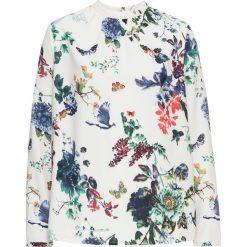 Bluzka bonprix kremowy z nadrukiem. Brązowe bluzki longsleeves marki bonprix, z nadrukiem, ze stójką. Za 84,99 zł.