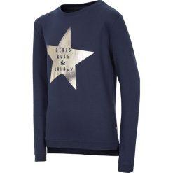 Bluza dla małych dziewczynek JBLD111 - ciemny granatowy. Niebieskie bluzy dziewczęce rozpinane 4F JUNIOR, na lato, z nadrukiem, z bawełny. Za 19,99 zł.