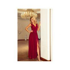Długie sukienki: SUKIENKA ZWIEWNA TESSO BORDOWA MAXI