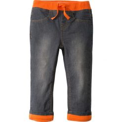 Chinosy chłopięce: Dżinsy ocieplane na podszewce z dżerseju bonprix szary denim - pomarańczowy