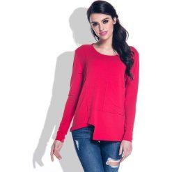 Bluzki, topy, tuniki: Czerwona Bluzka z Wycięciem i Kieszenią na Przodzie