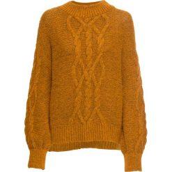 Sweter bonprix żółty musztardowy. Żółte swetry klasyczne damskie bonprix, z dzianiny. Za 129,99 zł.